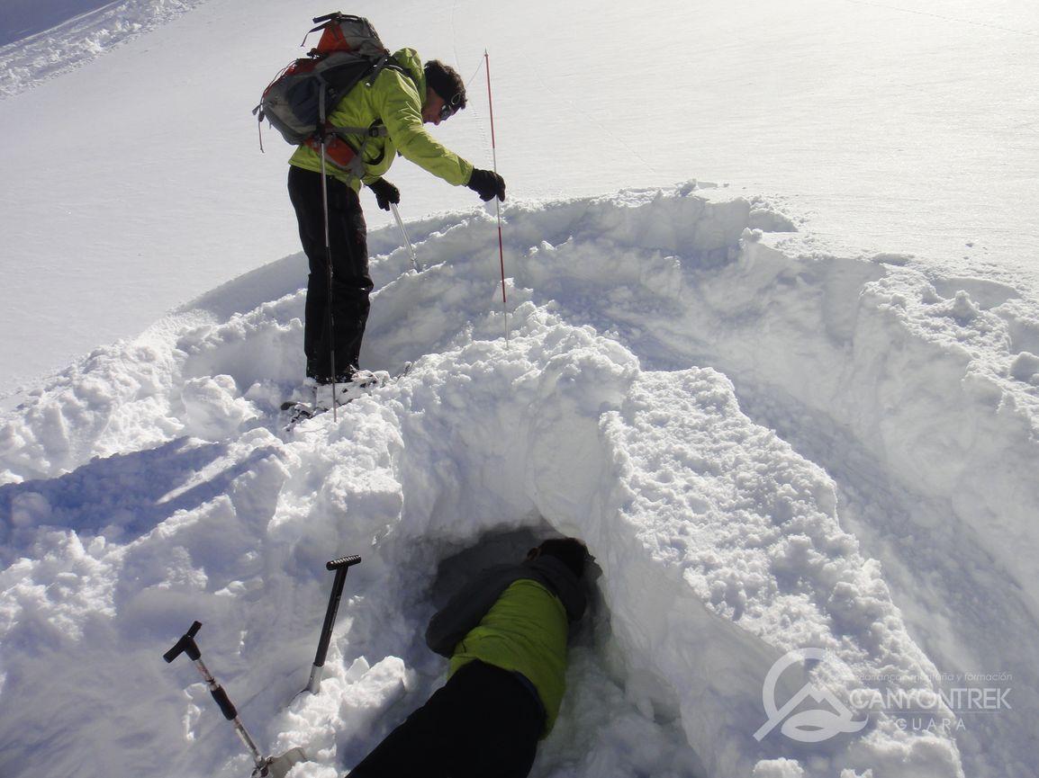 Prácticas de sondeo en nieve